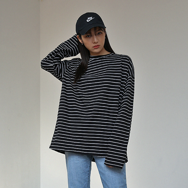 [BLACK UP] B STRIPE T-SHIRTS ( 2 color )