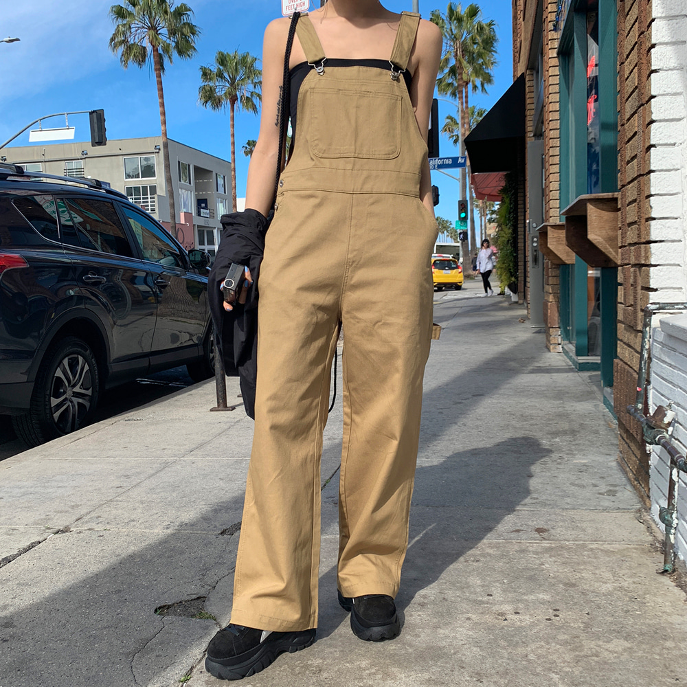 (BLACK UP)CHIP COTTON OVERALL PANTS
