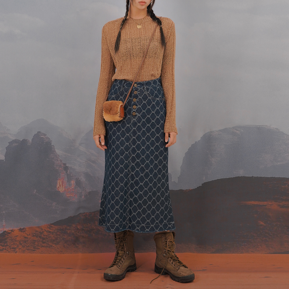 [NTNY-254] WESTERN JACQUARD LONG SKIRT